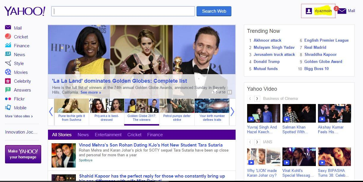Yahoo Sign in Homepage